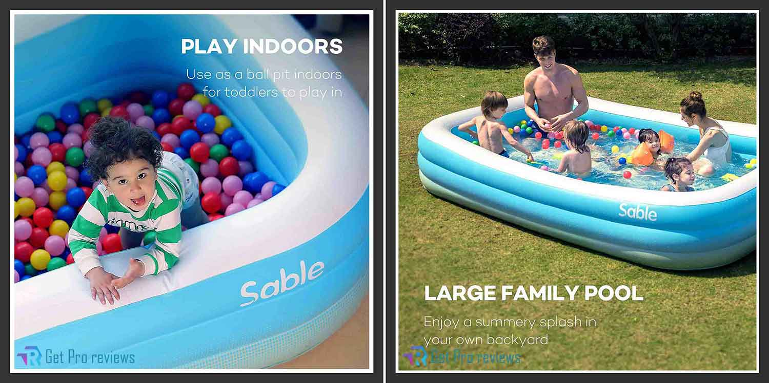 Sable Inflatable Pool, Blow Up Family Full-Sized