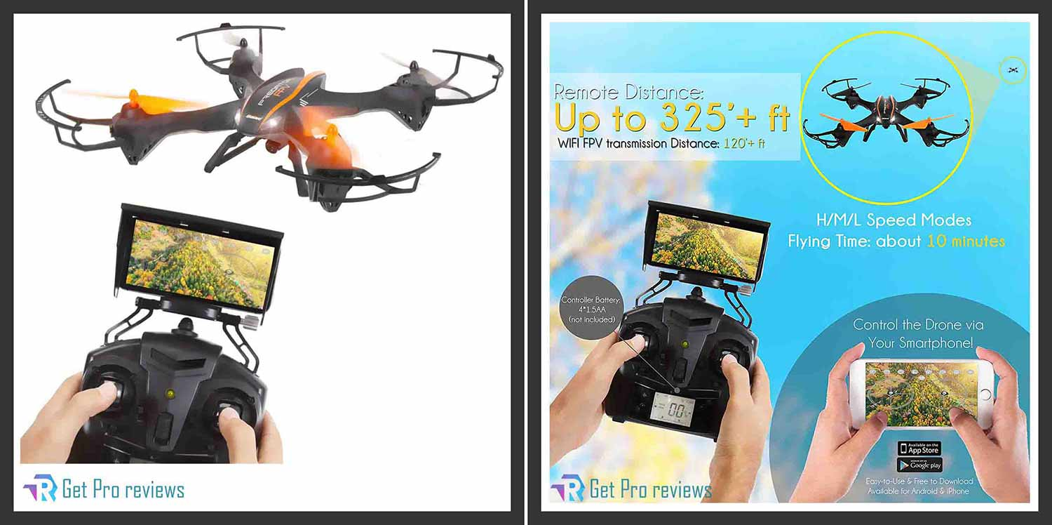 2.4GHz Wireless Predator Quadcopter Drone with Camera - WiFi 4 Channel FPV 0