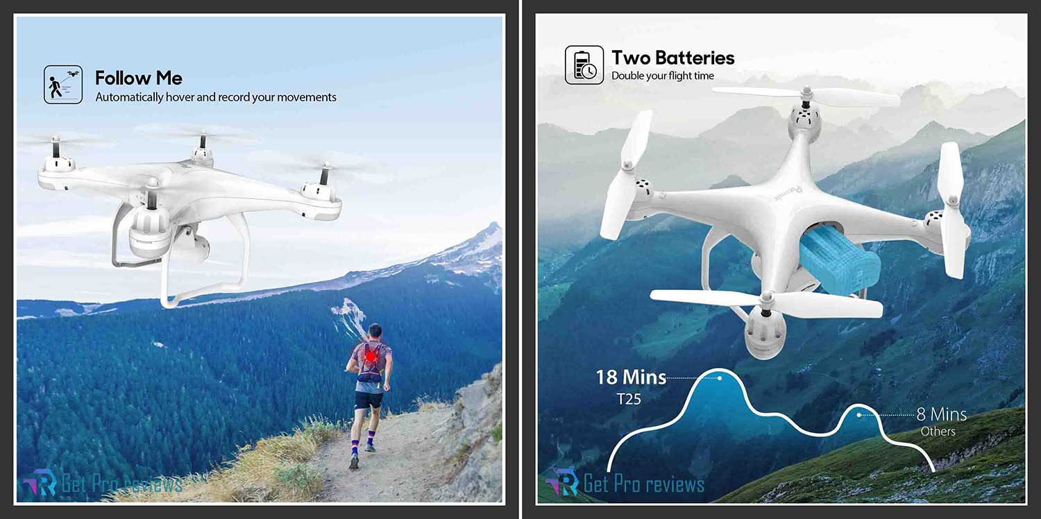 Potensic T25 GPS Drone, FPV RC Drone with Camera 1080P HD WiFi Live Video 0