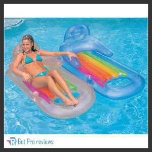 Intex King Kool Lounge Floating Swimming Pool Lounger with Headrest & Cupholder
